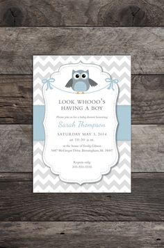 Owl Theme Baby Boy Shower Invitation Blue Gray by MadAnthonyWaynes, $10.00