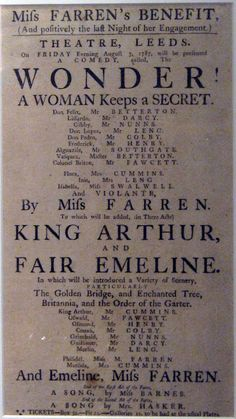 18th Century Theatrical Poster for Miss Farren's Benefit