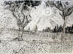 15 Trendy ideas for landscape sketch ink vincent van gogh Van Gogh Drawings, Dancing Drawings, Ink Pen Drawings, Artist Van Gogh, Van Gogh Art, Art Van, Landscape Sketch, Landscape Drawings, Landscape Art