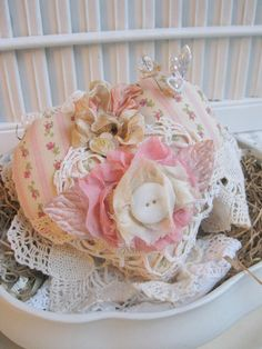 sale sale sale shabby chic heart PINCUSHION by cherrysjubileecards