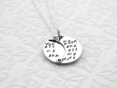 Sun Moon Stars Hand Stamped Necklace by EnchantedObjects on Etsy, $38.00