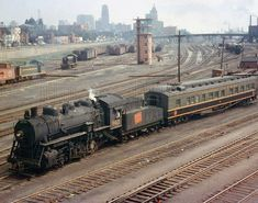 Bill Thomson Photo: Steam era action at Bathurst Street: Canadian National 8421 switches a heavyweight business car around the Spadina Coachyard (off to the right) at Bathurst Street bridge. New GMD and ALCO/MLW S-series diesel switchers w Ho Trains, Model Trains, Brick Yard, Canadian National Railway, Railroad Pictures, Railroad Photography, Rail Car, Train Pictures, Train Engines