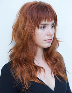 Long Copper Red Shag With Bangs