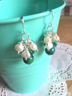 Green Turquoise and Freshwater Pearl Cluster by LaniMakana on Etsy