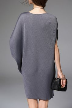 Asymmetric Dolman Sleeve Dress - GRAY ONE SIZE(FIT SIZE XS TO M)