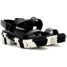 Balenciaga Unit Leather Sandals (4,220 CNY) ❤ liked on Polyvore featuring shoes, sandals, black, leather footwear, leather shoes, black leather shoes, real leather shoes and black leather sandals