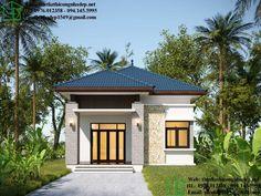 Xây nhà tầm 500 triệu, thiết kế nhà cấp 4 đẹp mái thái Modern Small House Design, Bungalow House Design, Home Fashion, Exterior Design, Gazebo, New Homes, Floor Plans, Cottage, Outdoor Structures