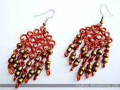 Jewelry: handmade enameled copper earrings