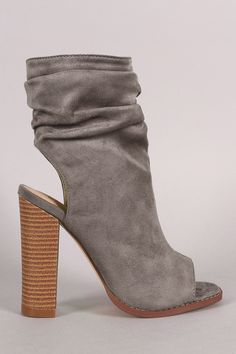 """Liliana Suede Slouchy Open Toe Chunky Heel Boots. Description These chic booties features a slouchy shaft with cutout design back and squared open toe silhouette. Finished with a lightly cushioned insole, chunky stacked heel, and side zipper closure for easy on/off.Material: Vegan Suede (man-made)Sole: Synthetic Measurement Heel Height: 4.5"""" (approx)Shaft Length: 9"""" (including heel)Top Opening Circumference: 10"""" (approx)"""
