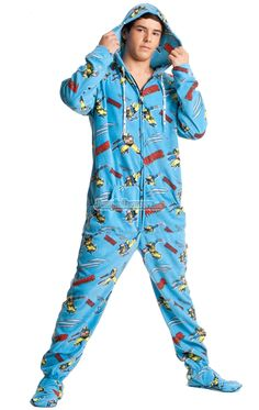 Adult footie pajamas, they do exist! Too bad it's like 100 degrees ...