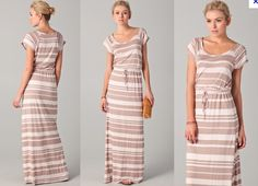 Maxi dress with cap sleeves and a belted waist