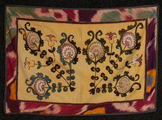 antique central asian textiles - suzani, Central Asia, Uzbekistan, Bukhara region... silk embroidery