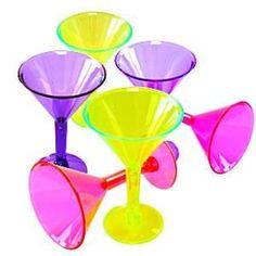Glasses: Multi-coloured Mini Martini Plastic Glasses - 42ml