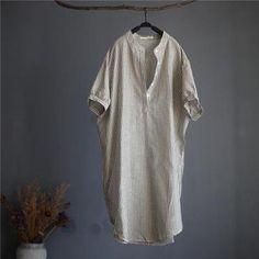 Striped Linen Blend Gauze Shirt Dress-Loosely Store