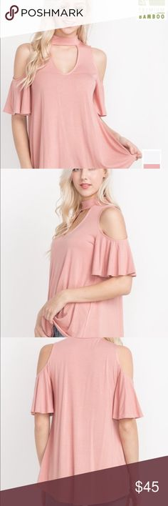 🔥Blush Choker Cold Shoulder Top🔥 🔥Blush Choker Cold Shoulder Top🔥-NWOT! This stunning open shoulder top is made of super soft Bamboo Cotton. Size small 🌟Price is firm unless bundled🌟 MTS Tops
