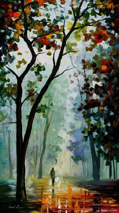 Golden Path — PALETTE KNIFE Landscape Oil Painting On Canvas by AfremovArtStudio, $199.00