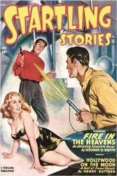 vintage COMIC BOOK cover poster STARTLING STORIES fire in the heavens 24X36
