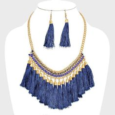 Navy Blue Tassel Gold Chain STATEMENT Necklace Earrings Fashion jewelry Set CHIC #Uniklook