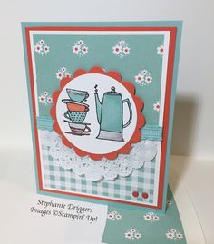 Stampin Up Morning Cup stamp set. Domestic Goddess DSP. Pool Party, Calypso Coral and Whisper White Card stock.
