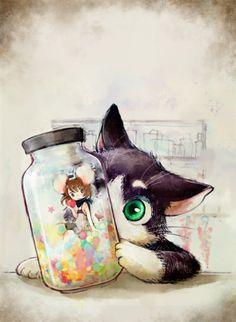 cat and kawaii