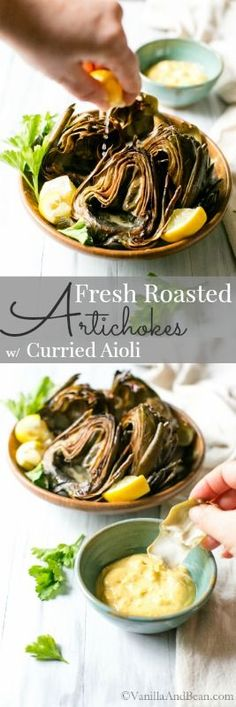 I roasted these in a cast iron skillet to tease out some smoky flavor: Roasted Artichokes with Curried Aioli | Vegan + GF |