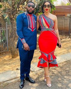 Couples African Outfits, Short African Dresses, Latest African Fashion Dresses, African Print Fashion, African Prints, African Attire, Couple Outfits, Venda Traditional Attire, Traditional Outfits