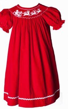 Southern Tots Smocked Red Corduroy Fancy Reindeer Bishop
