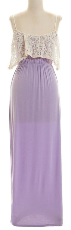 Lilac Maxi with Lace Overlay