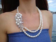 Wedding Bridal Statement Necklace.Double by BridalBrideStore