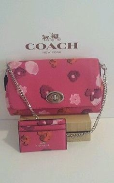 NWT COACH FLORAL PRINT MINI RUBY CROSSBODY/SHOULDER BAG PINK SET WITH CARD CASE!