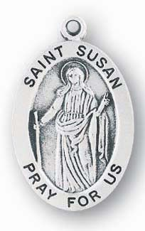 Sterling Silver Oval Shaped St. Susan Medal by HMH | Catholic Shopping .com