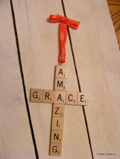 Christmas decorations / Cross made of # scrabble tiles / - Christmas Crafts Diy Christmas Ornaments, Homemade Christmas, Holiday Crafts, Christmas Holidays, Christmas Ideas, Scrabble Christmas Decorations, Scrabble Ornaments Diy, Christmas Signs, Spring Crafts