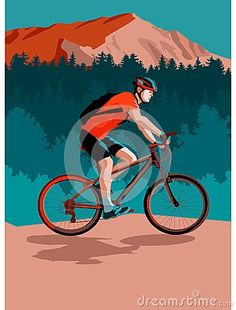 Illustration of a cyclist biking in mountains and spruce forest