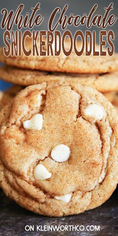Snickerdoodle Cookie Recipe is the perfect fall dessert for cinnamon lovers. If you want an easy to make soft & chewy snickerdoodle cookie – with or without white chocolate chips, this is for you. White Chocolate Desserts, White Chocolate Chip Cookies, Chocolate Chip Recipes, Chocolate Chips, Fall Cookie Recipes, Fun Baking Recipes, Best Dessert Recipes, Amazing Recipes, Easy Recipes