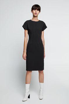 TOPSTITCHED PENCIL DRESS