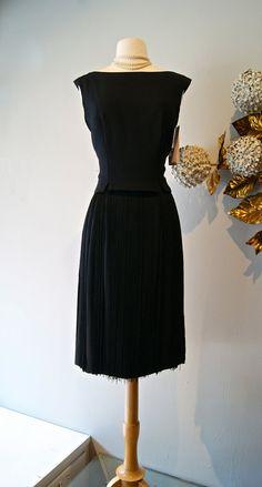Vintage 1960s Little Black Dress with Fringe by xtabayvintage, $198.00