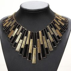 Gold And Black Bib Chunky Statement Necklace Collars Choker