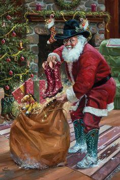 Cowboy Christmas, Christmas Canvas, Christmas Paintings, Father Christmas, Country Christmas, Christmas Art, All Things Christmas, Vintage Christmas, Xmas