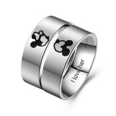 Titanium Wedding Rings Kissing Mickey And Minnie Couple Rings for Valentines Gift
