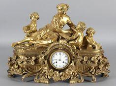 Prächtige Pendule, Paris um 1880 - 1900 Bronze vergoldet, auf Zifferblatt bez.: Hry Marc à Paris,