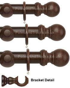 A traditional hand-drawn wooden pole set with ball finials to suit both classic & modern interiors. diameter for medium weight curtains, & diameter for heavy weight curtains. Wooden Curtain Poles, Wooden Poles, Heavy Weight Curtains, 1 Piece, Modern Interior, How To Draw Hands, Dark, Design, Curtains