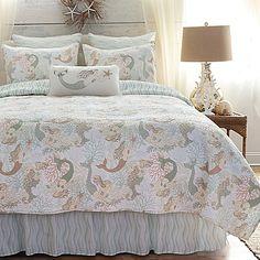 Seaside Mermaid Quilt Bedding sold out until March Coastal Quilts, Coastal Bedding, White Bedding, Luxury Bedding, Coastal Decor, Echo Bedding, Quilt Bedding, Comforter Sets, Linen Bedding