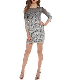 2052ae0468d Jump Glitter Lace 3 4 Sleeve Ombre Sheath Dress Junior Dresses