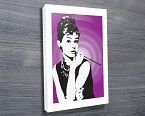 Audrey Hepburn - Purple - A stunning, retro looking pop art canvas print of the Hollywood icon Audrey Hepburn in a famous photo. This Audrey Hepburn art is available in a variety of great colours. http://www.bluehorizonprints.com.au/canvas-art/movie-sport-popart/Audrey-Hepburn-Purple/ - Canvas printing - Wall art - Photo on canvas - Birthday present ideas