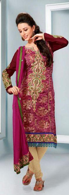 Pink Embroidery Faux Georgette Anarkali Salwar Suit