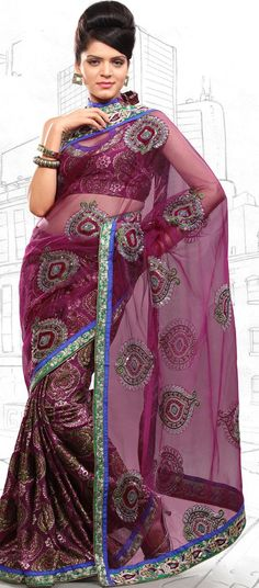 $59.03 Pink Brasso and Net Latest Fashion Saree 16706 With Unstitched Blouse