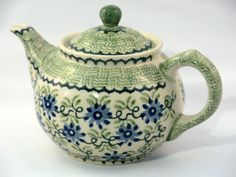 Soft-green teapot by Polish pottery