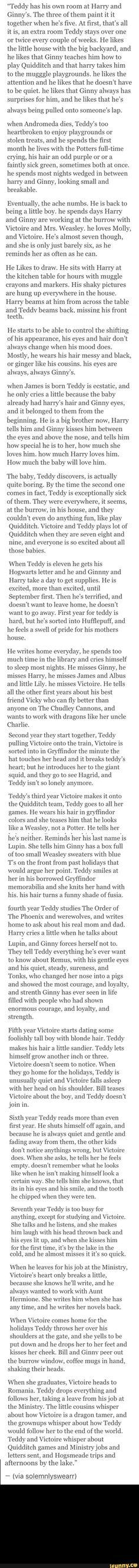 Aww my heart. Teddy Lupin