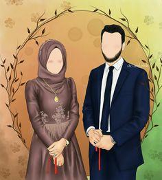 Cute Muslim Couples, Romantic Couples, Cute Couples, Happy Cartoon, Cartoon Art, Muslim Pictures, Javanese Wedding, Couple Sketch, Islamic Cartoon