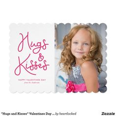 """""""Hugs and Kisses"""" Valentines Day Photo Card"""